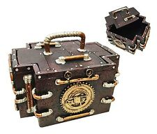 VINTAGE STEAMPUNK GAUGE MEDIC JEWELRY BOX FIGURINE GEARWORK DECOR