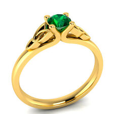 Women's 0.45ct Round-Cut Green Emerald 14K Yellow Gold Promise Ring