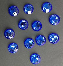 12 x 18 mm Vintage Glass Round Facetted Sew-on Stones/Jewels/Gems. Sapphire Blue