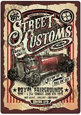 New Vintage Style Retro Metal Wall Sign STREET CUSTOMS A5 Garage Hot Rod Plaque