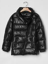 NWT Girls Gap Kids M (8)   Black Shiny Moto Puffer Jacket Coat $88 MEDIUM 8