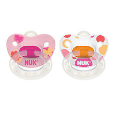 NUK BPA Free Orthodontic Silicone 0-6 mo Nature Classic 2 Pack Pacifi - Girl