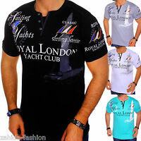 ZAHIDA Herren T-Shirt Clubwear 2in1 Shirt V-Neck Polo Designer M L XL XXL London