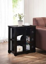 Cappuccino Finish Side End Table Shelf with Storage Door
