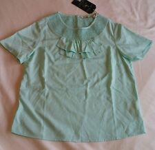 Jack Wills Cowan Smocked Ruffle Top 12 New Mint Green