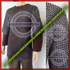 Flat Riveted with Flat Washer Chain Mail Shirt Medieval Chainmail Haubergeon XL