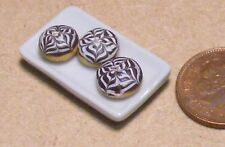 1:12 Scale 3 Flower Pattern Chocolate Doughnuts On A Plate Dolls House  PL114