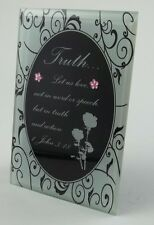 "Truth John 3:16 Poem Glass Mirror Mini Word Plaque 4 3/4"" x 3 1/8"" Religious"