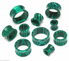 "PAIR-Stone Agate Malachite Green Double Flare Tunnels 12mm/1/2"" Gauge Body Jewel"