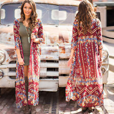 Women Floral Print Chiffon Boho Cardigan Shawl Kimono Top Cover up Shirt Blouse
