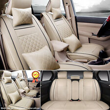 5-Seats Auto Car PU Leather Seat Cover Front+Rear Set w/Neck Lumbar Pillow Beige