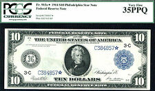 1914, $10 FR 915a STAR FRN-2ND FINEST OF TOTAL 8 KNOWN-RARE-PCGS 35PPQ POP 1/8