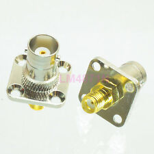 1pce Adapter BNC female to SMA 18.5mm flange panel mount connector straight F/F