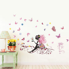 Flower fairy Butterfly Girls Cartoon kids bedroom room decor Wall sticker decal