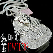 14K WHITE GOLD ON STERLING SILVER LAB DIAMOND KING TUT EGYPTIAN PHARAOH PENDANT