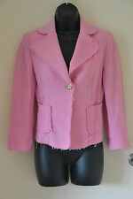 Zara Woman tweed jacket size 8 pink 3/4 sleeve raw edges excellent