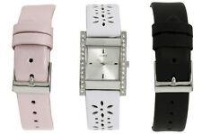 NEW GUESS LADY SS WATCH WHITE PINK BLACK LEATHER STRAP GIFT BOX SET U95190L1 NWT