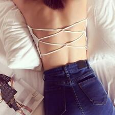 Women Lace Spandex Padded Strapless Crop Top Bra Cami Bralette Tank