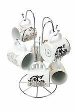 8 Cup Mug Tree Holder Chrome Wire Stand Hanging Kitchen Storage Rack