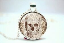 Glass Dome Cabochon Pendant Chain NECKLACE Gothic Horror/ Steampunk Spooky Skull