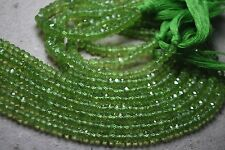 Full 13 inch X 5 Strand Fine Quality PERIDOT Faceted Rondelle Beads.