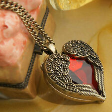 Fashion Women Chain Vintage Heart Angel Wing Pendant Necklace Red Rhinestone