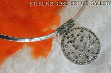"1 1/2"" MARCASITE STIFF CHOKER style Sterling Silver .925 Estate COLLAR NECKLACE"