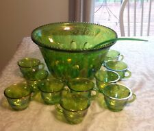 Indiana Glass Harvest Grape Iridescent Lime Green Punch Bowl Set 34 Pieces