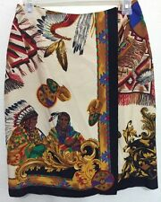 Preston York Native American Indian Print Skirt Overlap Wrap Size 8 Multicolor