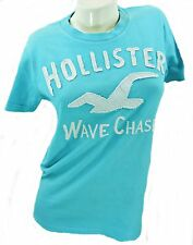 "UNISEX LIGHT BLUE ""WAVE CHASER"" HOLLISTER T-SHIRT, SIZE S / 36"" CHEST, LT102"