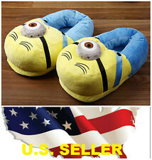 ❶❶ 3D Eyes Despicable Me Minions Stuffed Plush Slipper Unisex Adult Shoes Pair❶❶