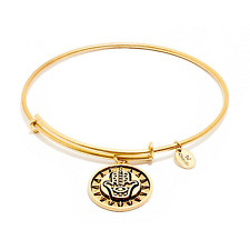 Chrysalis Hamsa Hand Expandable Bangle in 14k Gold Plate, CRBT0808GP