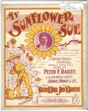Rare Antique Original VTG 1900 My Sunflower Sue P Dailey Piano Sheet Music Print