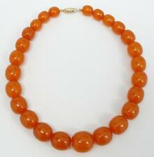 "Antique Chinese Honey Cognac Amber Bead 15"" Necklace 42 grams"