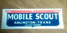 "Mobile Scout Vintage Travel Trailer decal 13"" red white and blue Arlington,Texas"