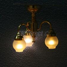 Dollhouse Miniature 3 Arm Chandelier Ceiling Lamp LED Light Battery Powered