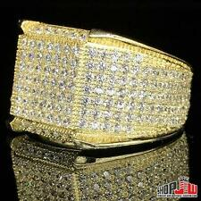Mens Yellow Gold Finish .925 Silver Simulated Diamond Ring Round Fully Size 8