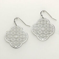 "Filigree Earrings Clover Cutout Textured Metal SILVER 1.5"" Lightweight Jewelry"