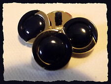 6 BOUTONS marine bordure doré * 15 mm  1,5 cm pied queue * button black gilt lot