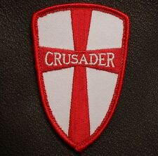 CRUSADER CROSS SHIELD NAVY SEAL DEVGRU USA ARMY TACTICAL BADGE RED VELCRO PATCH
