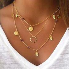 Womens Leaves Alloy Golden Multilayer Pendant Long Chain Necklace Jewelry