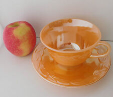 Tea cup + saucer duos 1950s glass Fire-King Peach lustre Laurel Anchor Hocking