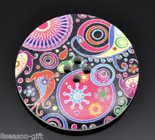 20 Multicolor Pattern Wood 4 Holes Sewing Buttons 40mm