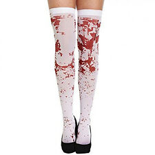 Adult White Bloody Hold Up Stockings - Halloween Fancy Dress Accessory
