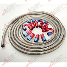 AN16 -16AN Stainless Steel Braided Oil/Fuel Hose + Fitting Hose End Adaptor Kit