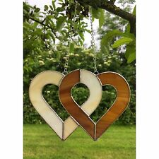 HANDMADE Stained Glass Linked Love Heart Suncatcher, Brown, Cream Glass Gifts