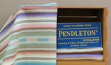 PENDLETON AGAVE STRIPE WOOL BLANKET western Navajo Indian Chimayo Vtg EUC 59X68