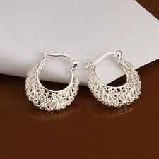 New Women 925 Sterling Silver Plated Hollow Flower Hoop Studs Earrings Jewelry