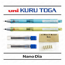 2 x Uni Kuru Toga Mechanical Pencils - Blue & Green Barrels + Leads + Erasers