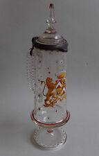 Verrerie. Autriche ou Italie. Chope en cristal émaillé décor d'armoiries, XIXe
